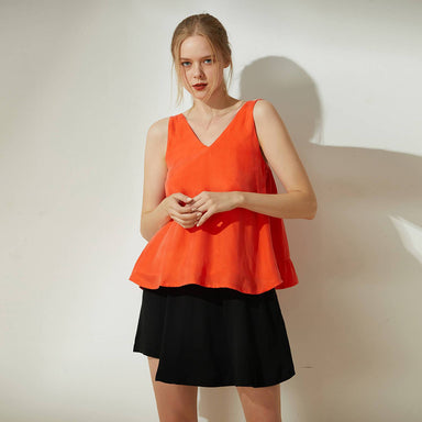 Hekate Cupro Tie-back Top in Tangerine Tango - Women's Tops - Salient Label - Naiise