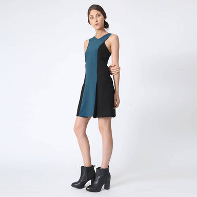 Stiles Asymmetric Neckline Dress in Peacock Dresses Salient Label