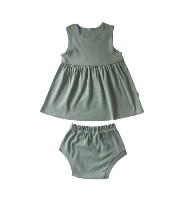 Sleeveless Dress and Bloomers Kids Clothing Little Happy Haus Pistachio 3y