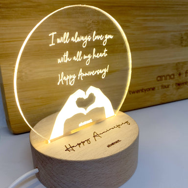 Personalised Acrylic Stand On Wooden Light Base - Night Lamps - Abstract - Naiise