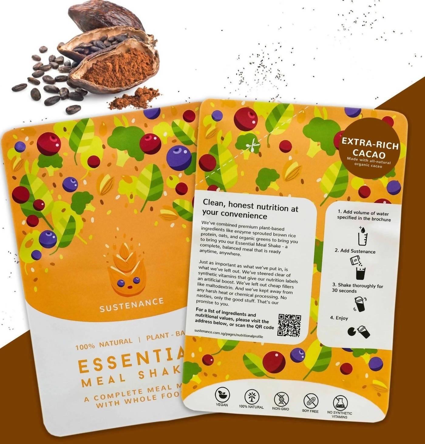 Sustenance Essential Meal Shake (Rich Cacao Flavor) (5 Meal Starter Kit) - Food Kits - Zesty Leaf - Naiise