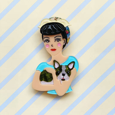 Fab Fifi and Frenchie Brooch (Blue Head Scarf) - Brooches - She Loves Blooms - Naiise
