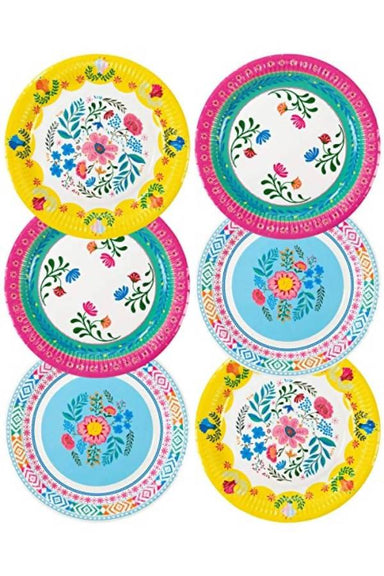 BOHO MIX FLORAL 9 INCH ROUND PAPER PLATES 12PK PARTYWARE The Children's Showcase
