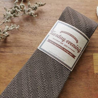 Necktie Gold Brown Herringbone - Ties - Tuesday Evening - Naiise