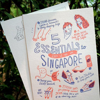 5 Essentials To Singapore Postcard - Local Postcards - The Fingersmith Letterpress - Naiise