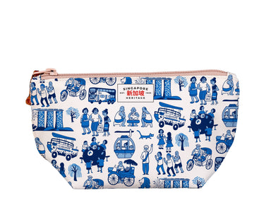 "SG Icon Print Medium Pouch Local Pouches Chalo P001 White 9 3/4""W x 5""H x 3"" D"