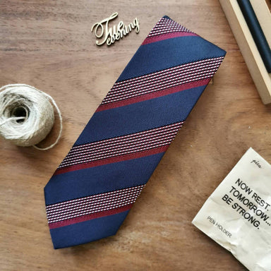 Vintage Royal Blue with Red Stripe Necktie | 8cm - Ties - Tuesday Evening - Naiise