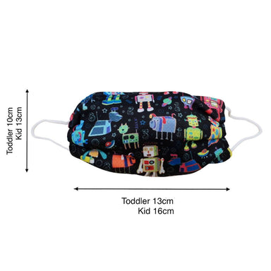 Toddler / Kids Reusable Dri-Fit Face Masks - Robots - Fabric Masks - Zigzagme - Naiise