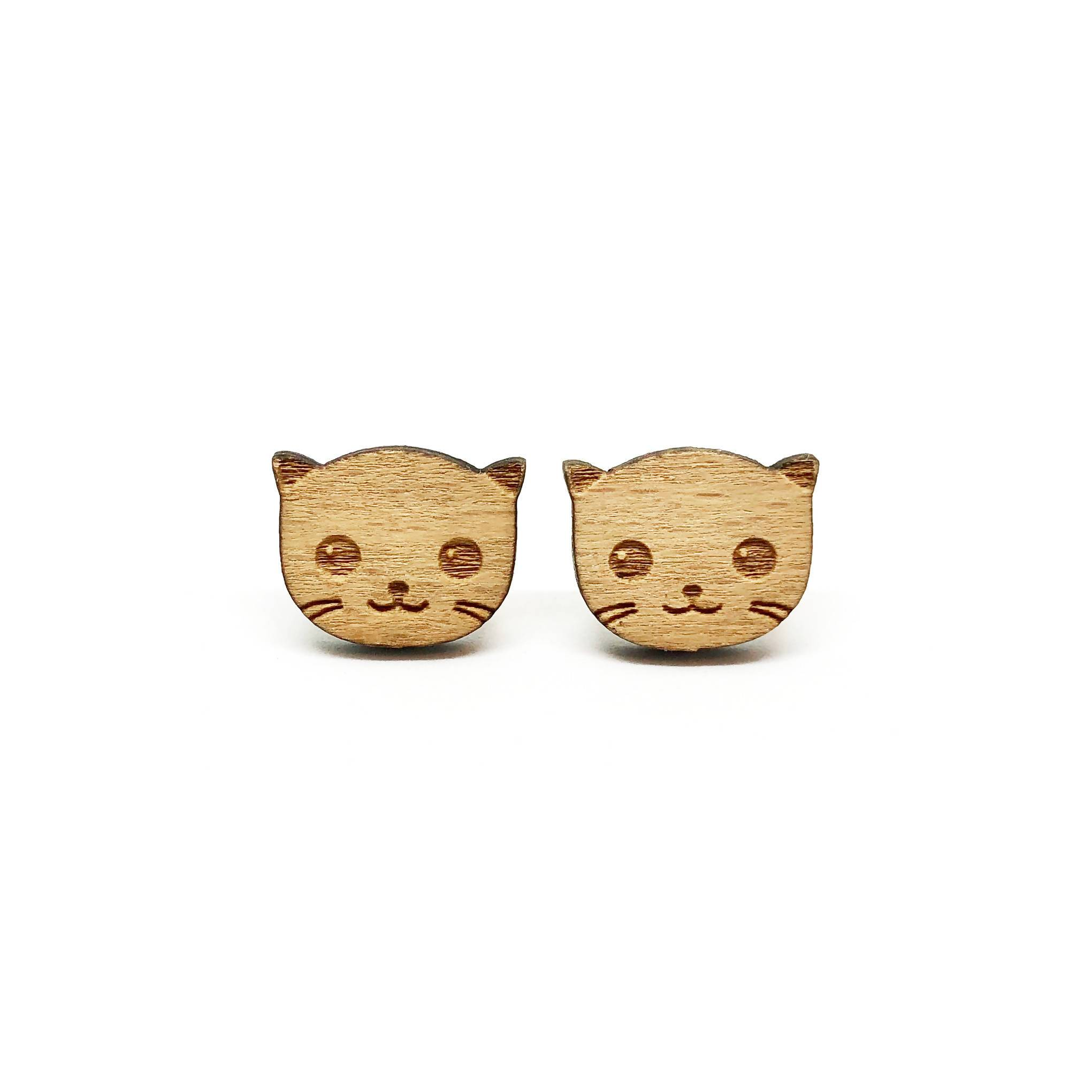 Kitty Cat Laser Cut Wood Earrings - Earring Studs - Paperdaise Accessories - Naiise
