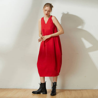 Hekate V-neck Cupro Cocoon Dress in Bright Red - Dresses - Salient Label - Naiise