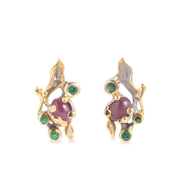 Botanical Ruby and Emerald Stud Earrings Earring Studs Salalo Amot