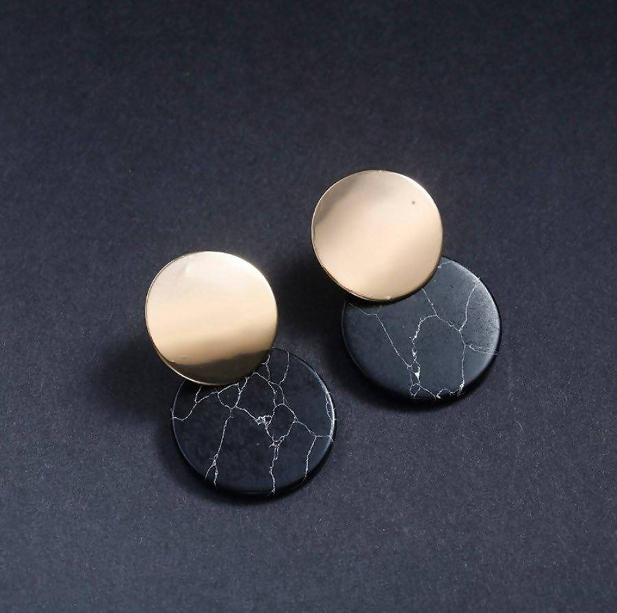 Double Drop Natural Stone Earrings - Black Marble - Earrings - Whispers & Anarchy - Naiise