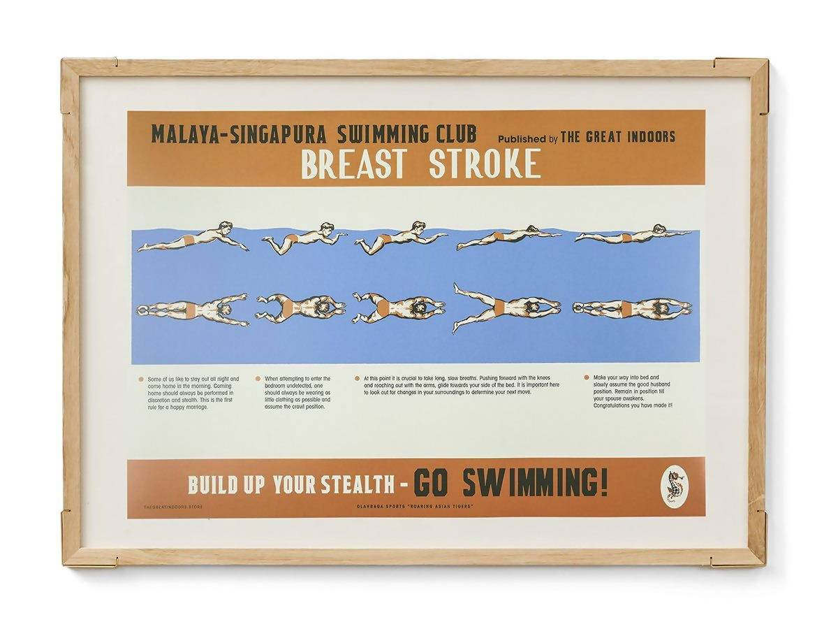 Straits Settlements Vintage Posters - Breast Stroke - Prints - The Great Indoors - Naiise