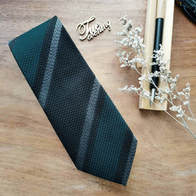 Necktie Wide Stripe in Hunter Green with Black and White | 8cm - Ties - Tuesday Evening - Naiise