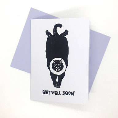Get Well Soon Cat - Hand-Printed Cat Greeting Card Get Well Soon Cards Ping Hatta. Studio