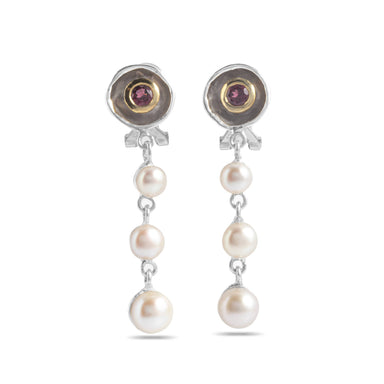 Wednesday Pearl and Rhodolite Earrings Earrings Salalo Amot