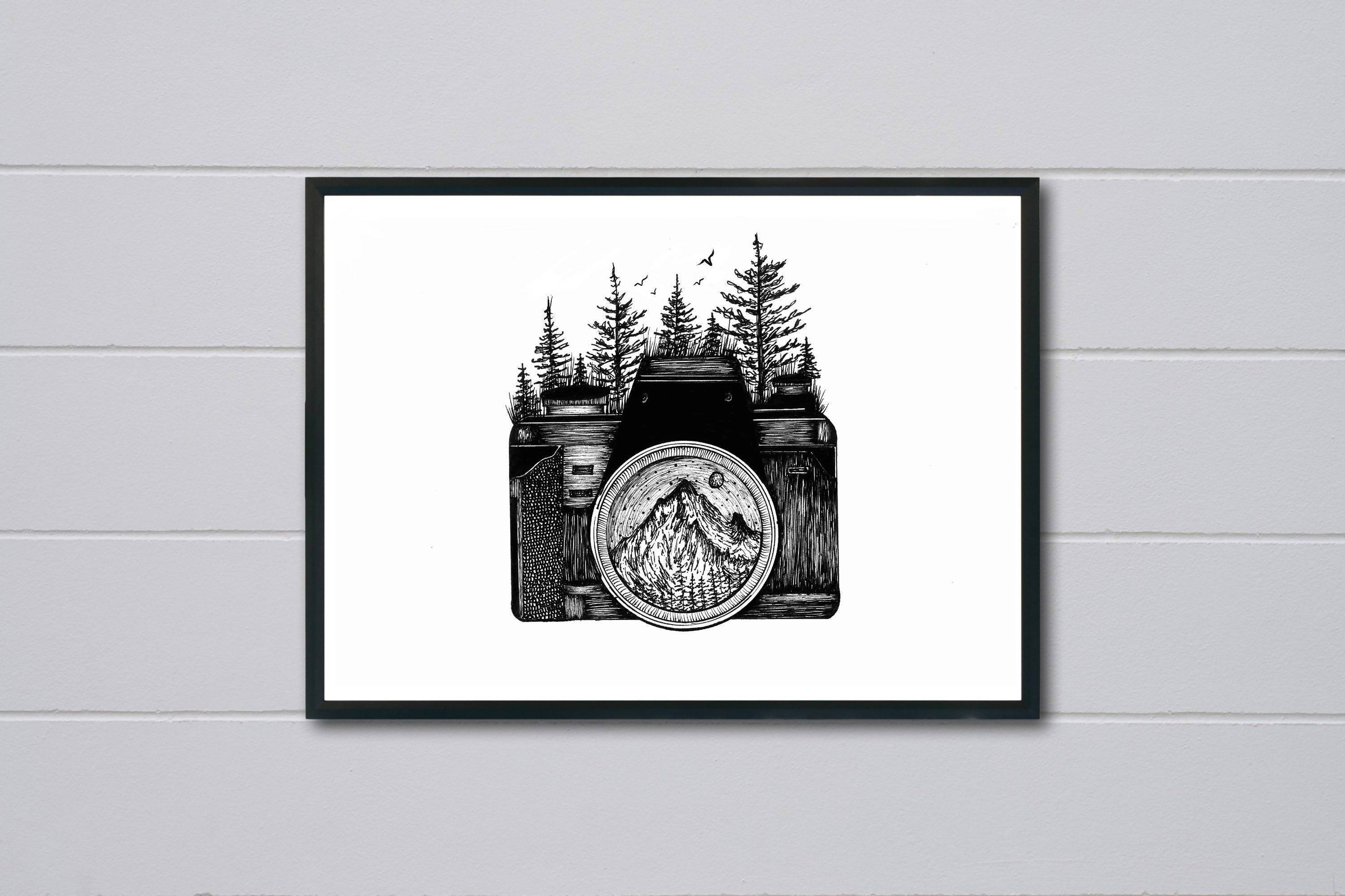 Camera Ink Art Print - Art - Sketchyo - Naiise
