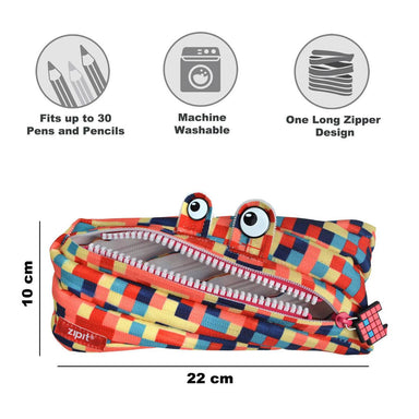 Zipit Pixel Blue & Red Monster Pencilcase + Jumbo Pencilcase Bundle Gift Sets Zigzagme