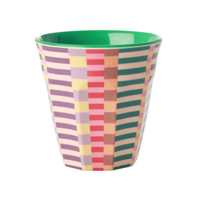 Melamine Cup with Summer Stripes Print - Two Tone -Medium Drinkware The Children's Showcase