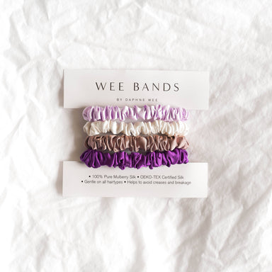 100% Pure Mulberry Wee Bands Silk Hair Scrunchies - Purple Collection - Hair Accessories - Wee Bands - Naiise