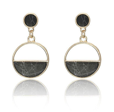 Half Moon Natural Stone Earrings - Black Marble - Earrings - Whispers & Anarchy - Naiise