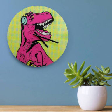 Mustard T-Rex Clock - Clocks - The Planet Collection - Naiise