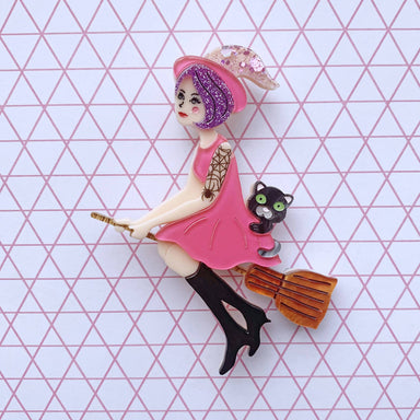 Vivienne Witch upon a Broomstick Brooch - Brooches - She Loves Blooms - Naiise