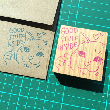 Good Stuff Inside Cat - Funny Clear Jelly Rubber Stamp Rubber Stamps Ping Hatta. Studio
