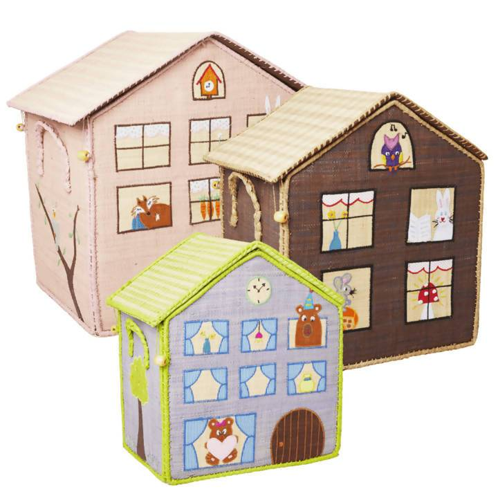 Raffia Toy Baskets with House Theme - Large - Home Organisation - The Children's Showcase - Naiise