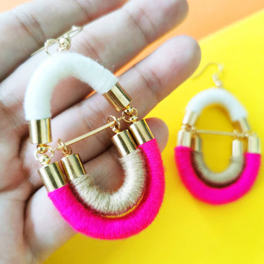 Crossloop Rope Earrings - Hot Pink/ White/ Khaki - Earrings - Playtime Rebs Studio - Naiise