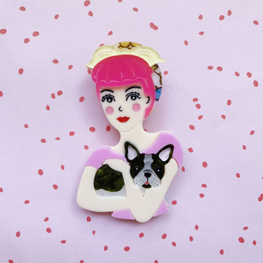 Fab Fifi and Frenchie Brooch (Pink Head Scarf) - Brooches - She Loves Blooms - Naiise