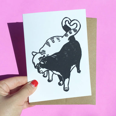 Headbutt Cats - Hand-Printed Cat Greeting Card - Love Cards - Ping Hatta. Studio - Naiise