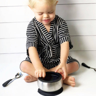 Avanchy Stainless Steel Suction Baby Bowl + Air Tight Lid - Black - Kids Utensils - The Children's Showcase - Naiise