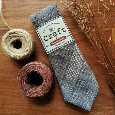 The Craft Grey Cotton Stitchy Dot Stripe Necktie - Ties - Tuesday Evening - Naiise