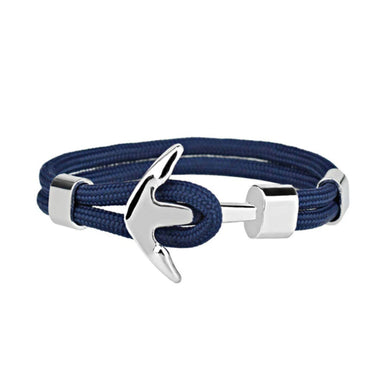 J. By Jee Basic Silver Anchor Bracelet (Blue Stripe) - Men's Bracelets - J By Jee - Naiise