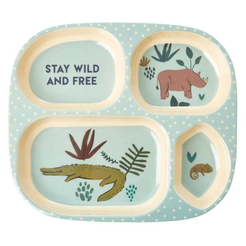 Melamine Kids 4 Room Plate with Blue Jungle Animals - Kitchenware - The Children's Showcase - Naiise