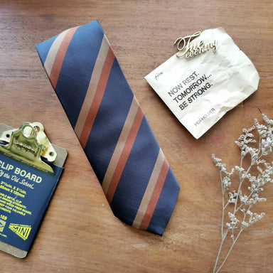 Necktie Navy with Caramel Brown Stripe | 8cm - Ties - Tuesday Evening - Naiise