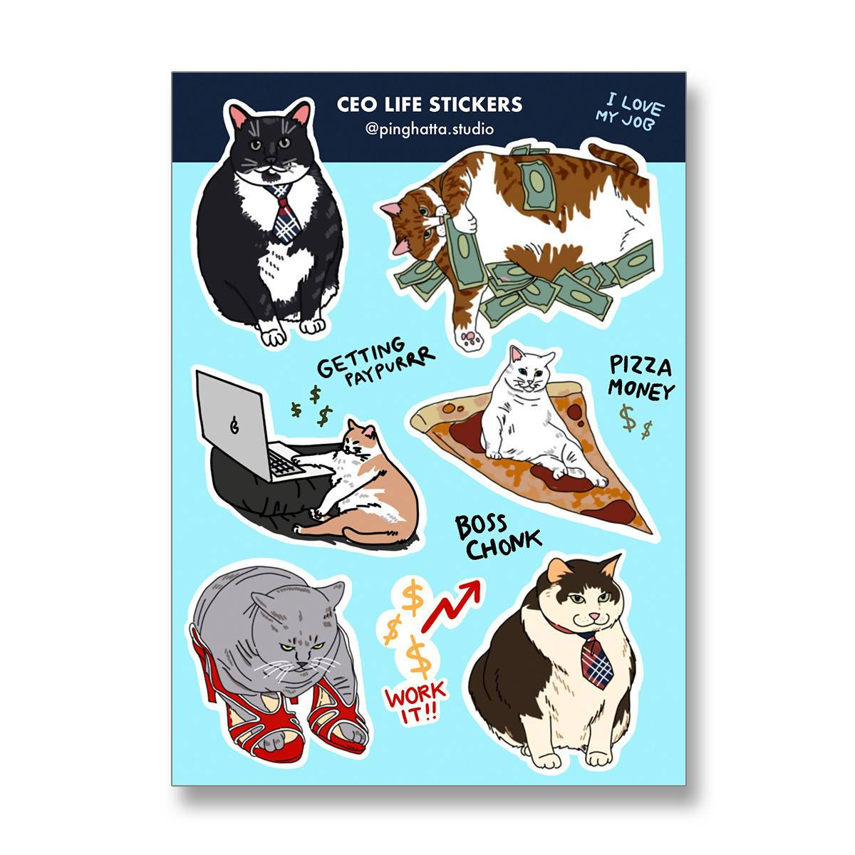 Cat Meme Funny Sticker Sheet - Stickers - Ping Hatta. Studio - Naiise