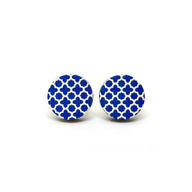 White Grilles on Blue Wooden Earrings - Earring Studs - Paperdaise Accessories - Naiise
