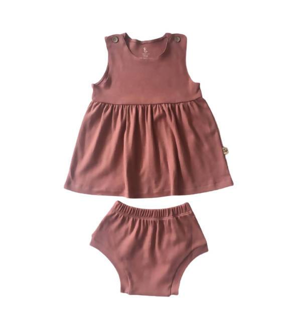 Sleeveless Dress and Bloomers Kids Clothing Little Happy Haus Rose Clay 3y
