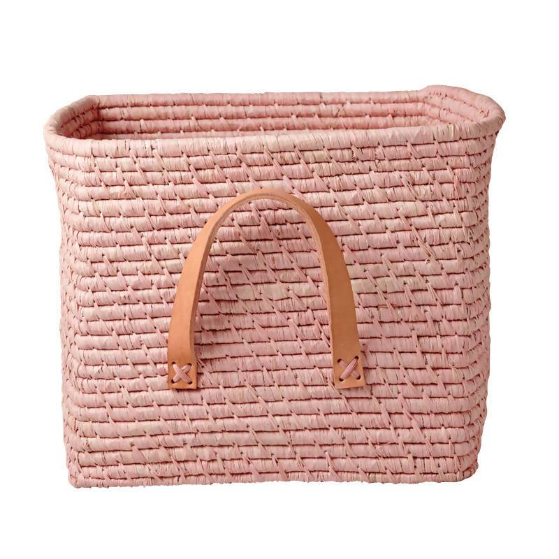 Raffia Square Basket with Leather Handles - Soft Pink - Home Organisation - The Children's Showcase - Naiise