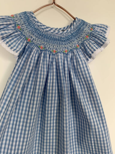 Blue Gingham Dress with Embroidered Sequins and Flowers - Kids Clothing - Smockful Of Love - Naiise