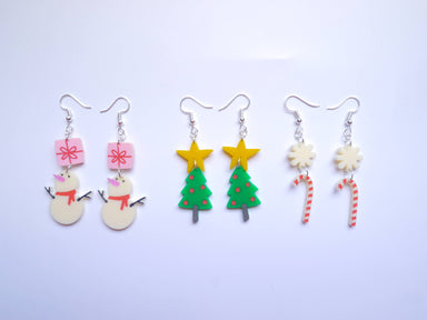 Christmas Themed Earrings - Snowman, Christmas Tree, Candy Cane - Earrings - Loopy Fruppy - Naiise