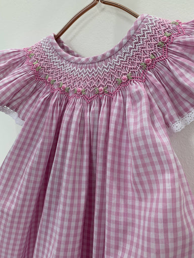 Pink Gingham Dress With Embroidered Flowers - Kids Clothing - Smockful Of Love - Naiise