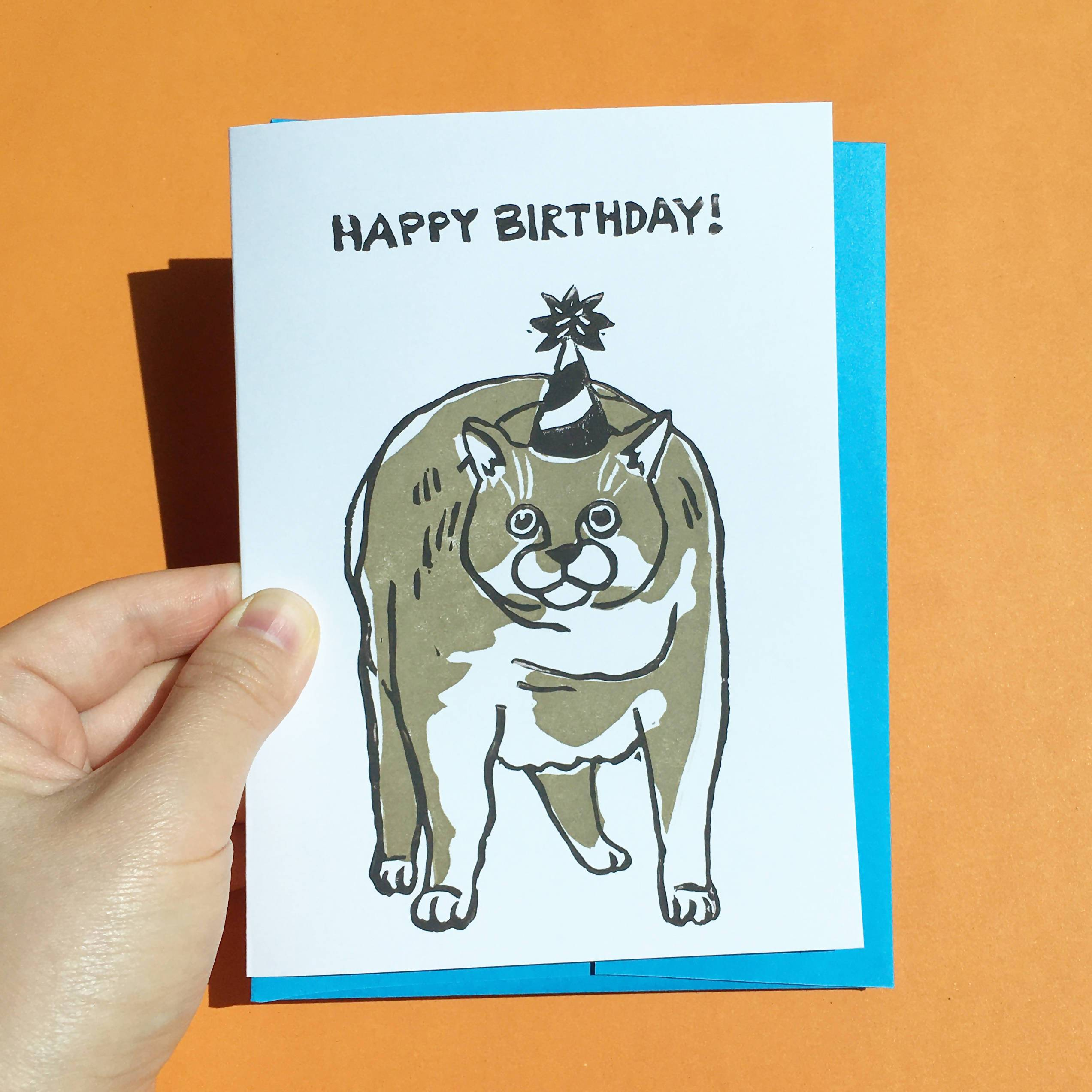 Happy Birthday Gray Chonky Cat - Hand-Printed Cat Greeting Card - Birthday Cards - Ping Hatta. Studio - Naiise