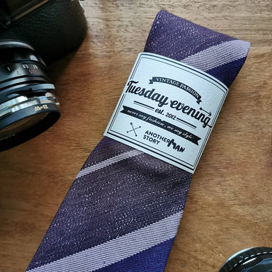 Purple Violet Shade Stripe Necktie - Ties - Tuesday Evening - Naiise