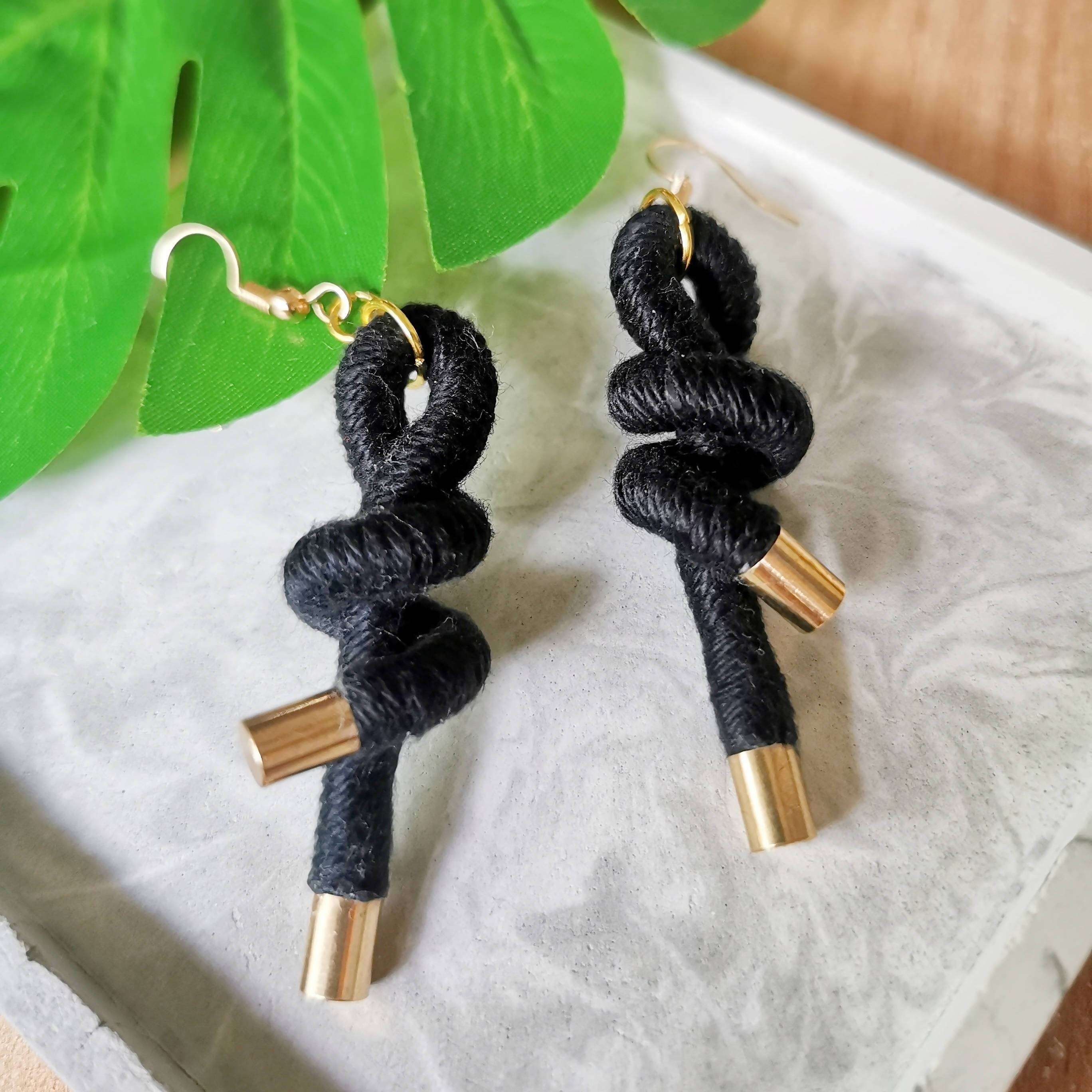 The Thinker Rope Earrings - Black - Earrings - Playtime Rebs Studio - Naiise