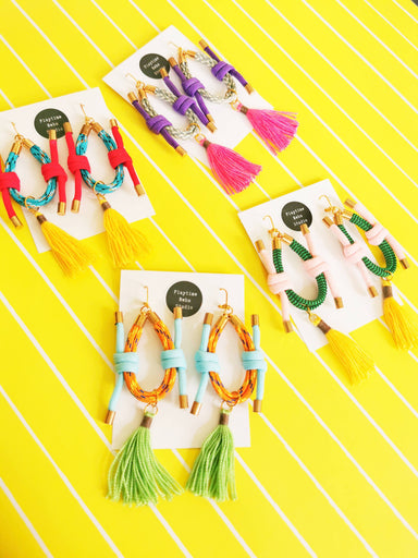 Duo-knot Tassel Rope Earrings - Choice of colors - Earrings - Playtime Rebs Studio - Naiise
