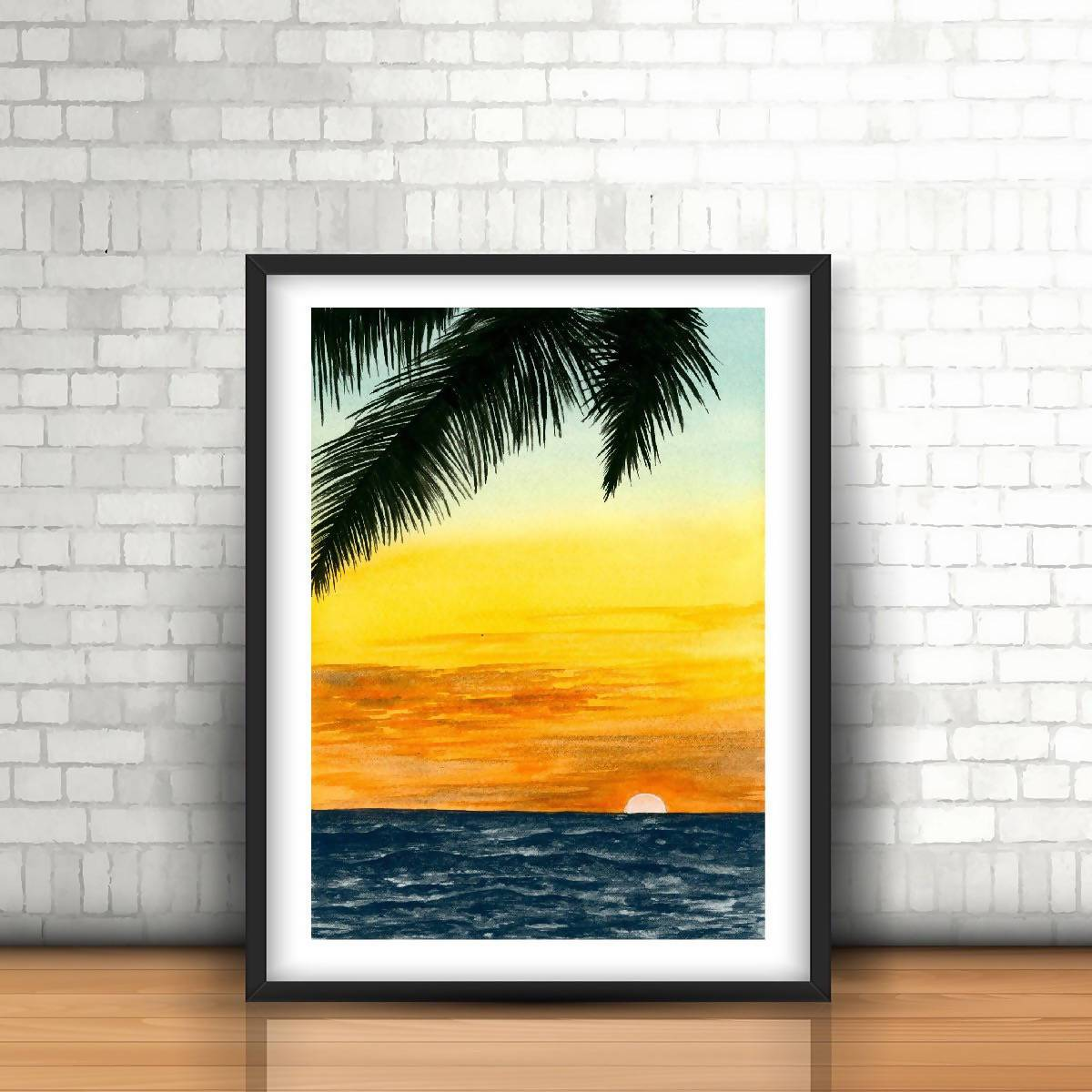 Sunset at beach Watercolor Art Print - Art - Sketchyo - Naiise