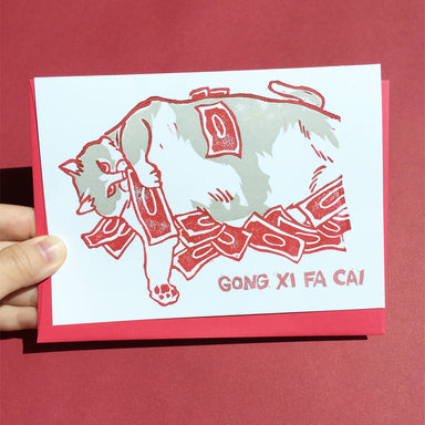 Gong xi fa cai Chinese New Year Cash Money Cat - Hand-Printed Cat Greeting Card - Chinese New Year Cards - Ping Hatta. Studio - Naiise